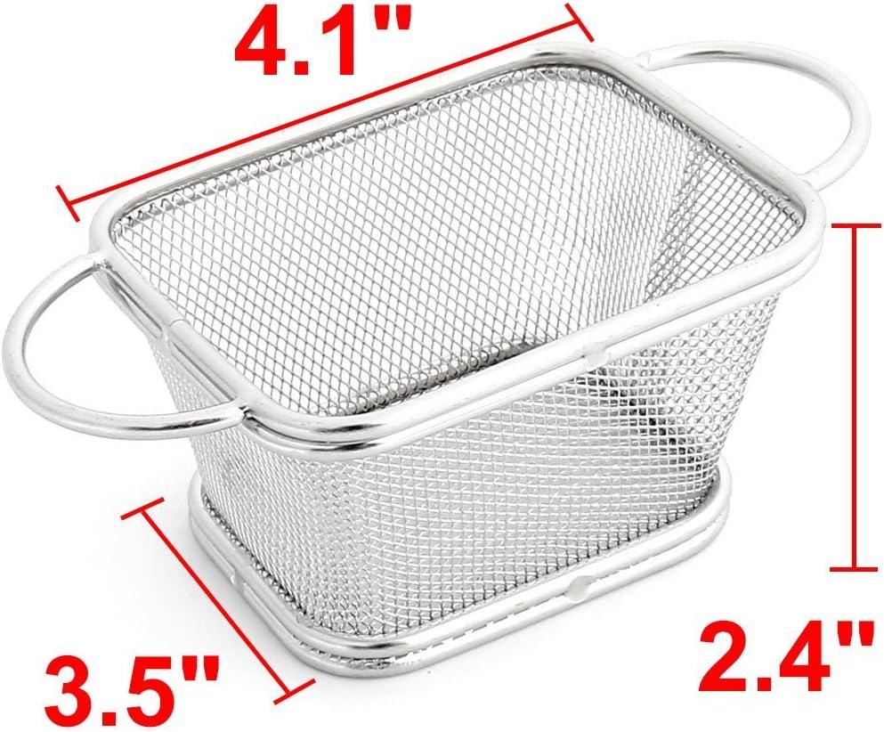 Mesh eDealMax en Acier inoxydable Rectangle Basket Strainer Chips Fries Panier ton Argent