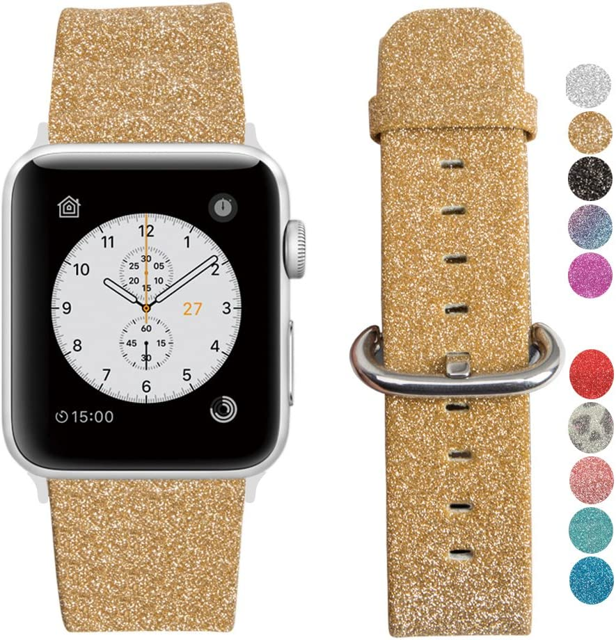 MIFFO Apple Watch Band Leather iWatch Strap Extreme Deluxe Shiny Bling Glitter Leather Bracelet Wristband for Apple Watch Series 1, Series 2, Series 3 Sport Edition (Gold-38mm)