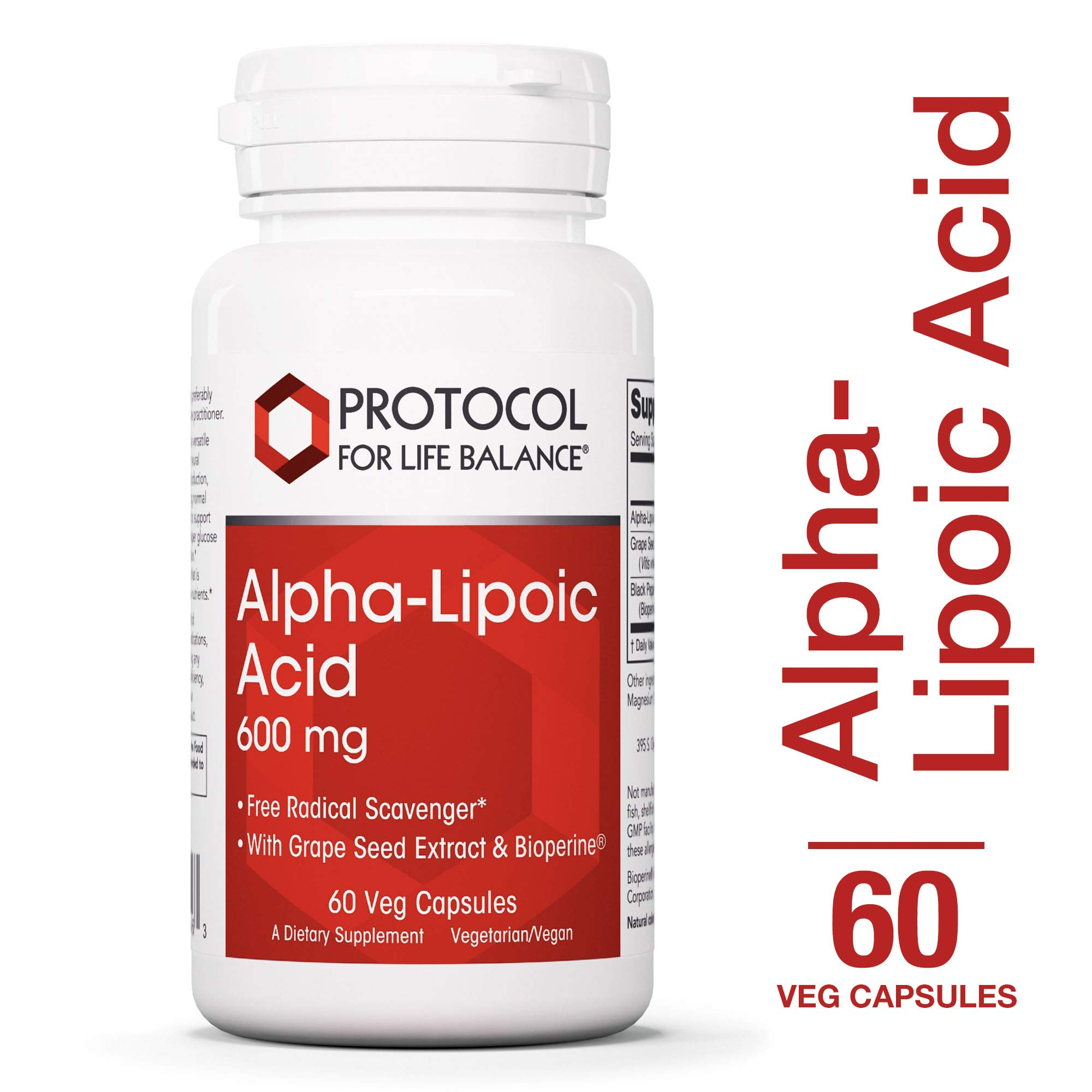 Protocol For Life Balance - Alpha-Lipoic Acid 600 mg - Free Radical Scavenger with Grape Seed Extract & Bioperine, Nervous System Support , Energy Boost, & Reduces Oxidative Stress - 60 Veg Capsules