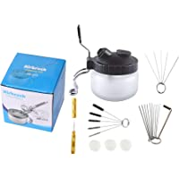 Podoy Airbrush Cleaning Kit Spray Wash Cleaning Pot Stabilizer Jar Bottles Holder with Cleaning Tools Needle Nozzle Brush