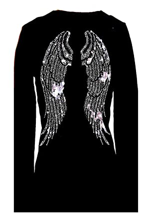 92a1be307207c Amazon.com  Angel Wings Rhinestone Bling Womens V Neck Long Sleeve ...