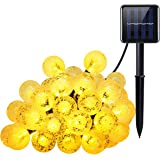 Criacr Solar String Lights, (8 Modes, 30 Balls) Crystal Ball String Lights, Indoor Outdoor Globe Fairy String Lights, Waterproof Solar Starry Lights, for Garden, Home, Dancing, Wedding, Party