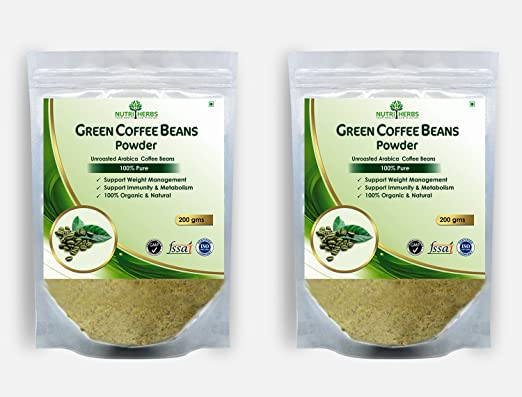 Nutriherbs 100% Pure And Organic Green Coffee Beans Powder - 400Gm (Pack Of 2)