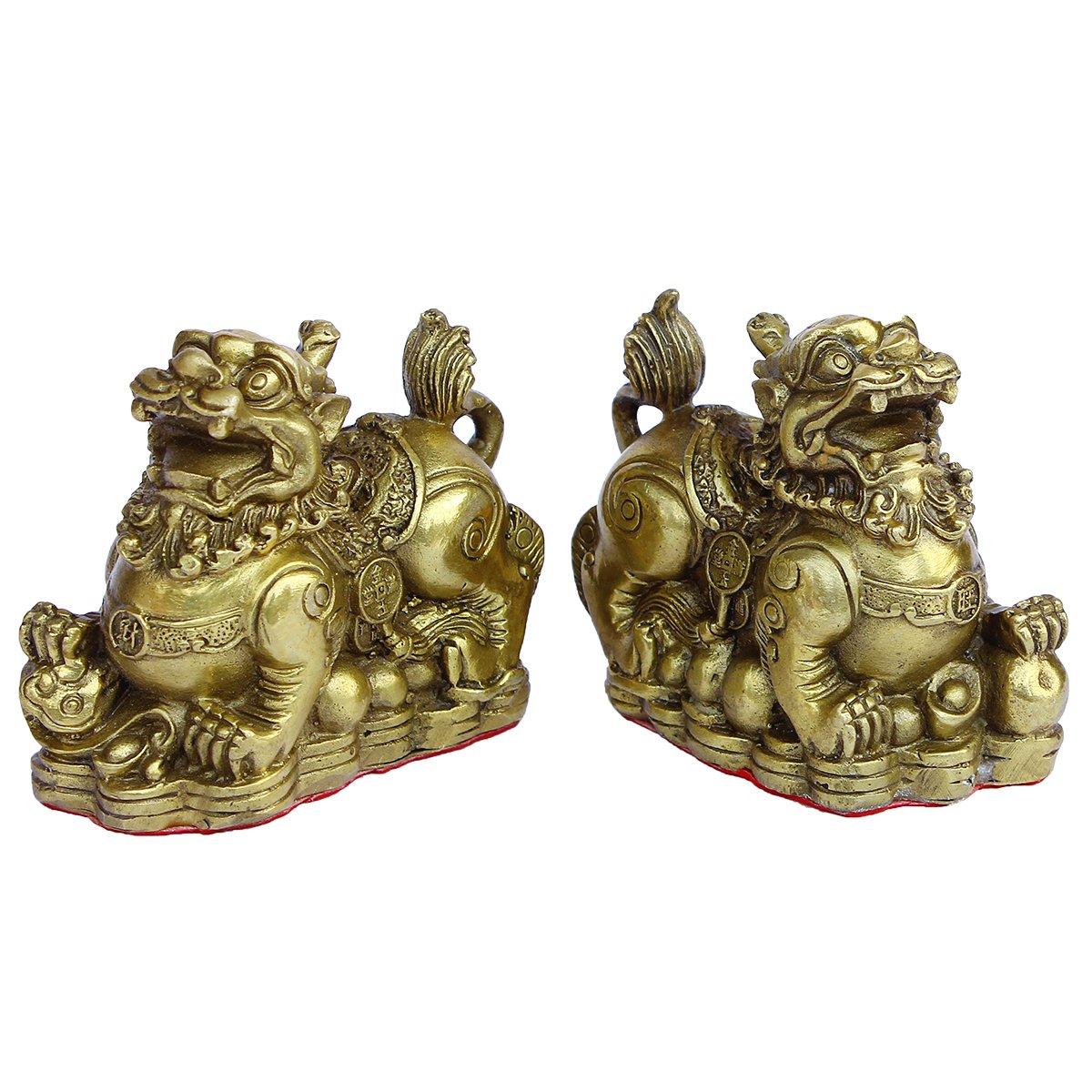 Handmade Brass Pi Yao /Pi Xiu for Wealth Figurine Collectible Home Decor Set of 2