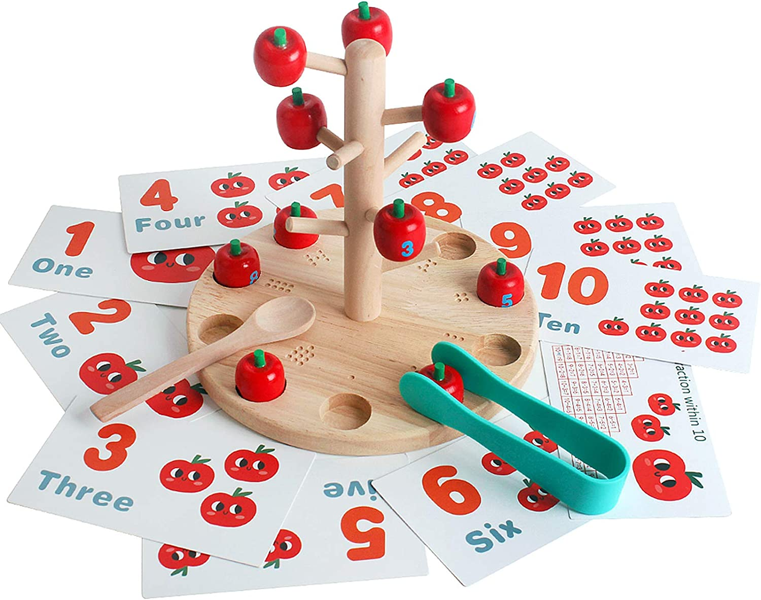 Wooden Multifunctional Apple Picking Tree Toy Distribution Arithmetic Montessori Preschool Toy Fat Brain Game Kit for Kids Over 3 Years Old Fun Early Education Fine Motor Skill Grasping Developing