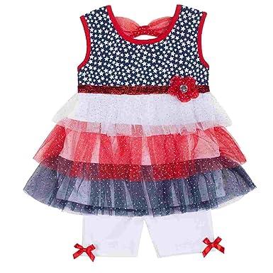 06fb214844d Little Lass Infant   Toddler Girls Patriotic Tulle Top   Bottoms Outfit Set  12m