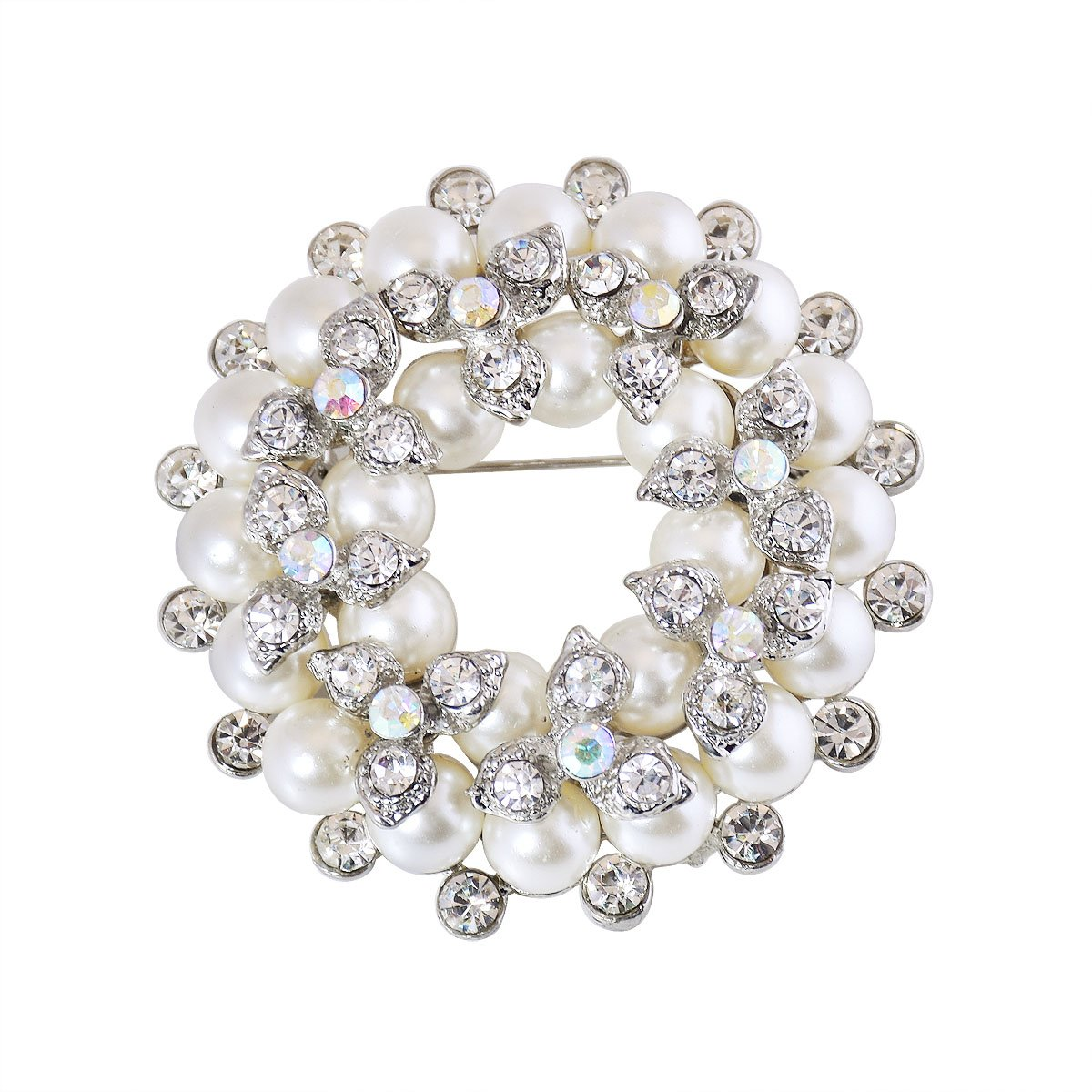 ElegantPark BP1709 Women Fashion Jewelry Double Floral Pearls Gift Dress Brooch Pins Silver
