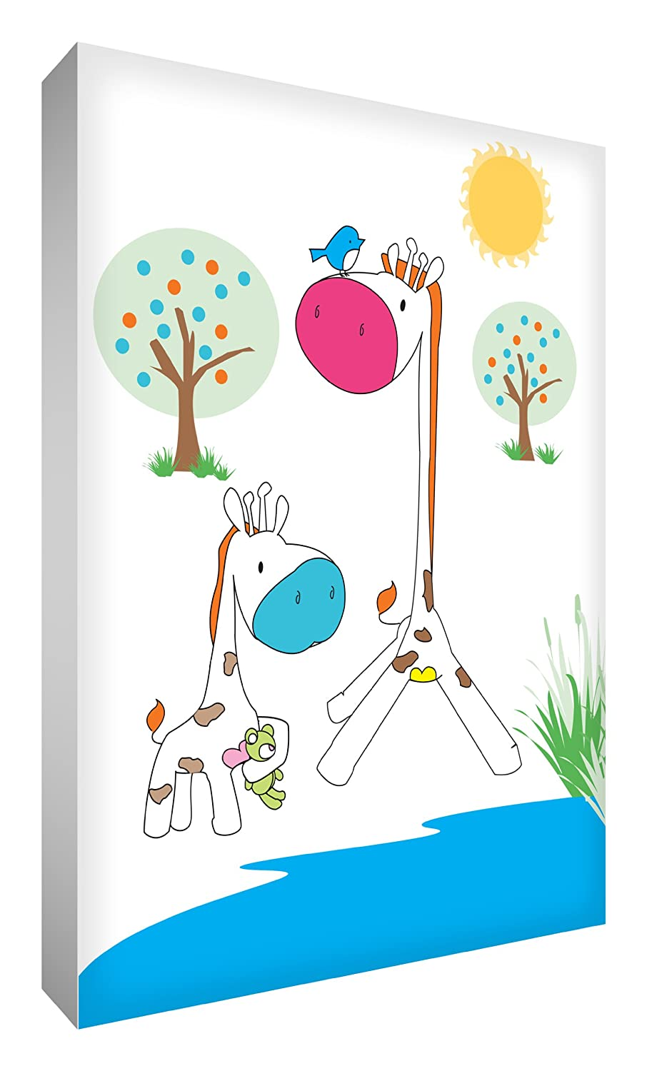 Feel Good Art Thick Nursery Box Canvas Cute Giraffe Design (A4) GIR128-12