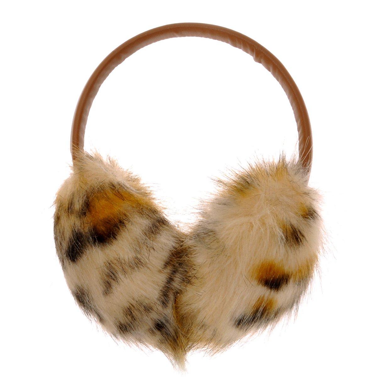ZLYC Womens Girls Winter Fashion Adjustable Faux Fur EarMuffs Big Ear Warmers ((Leopard print) Brown)