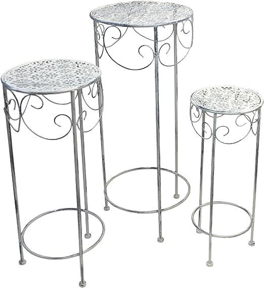 3x VINTAGE Beistell Tische Blumen Hocker Ornamente Ess Zimmer Ablage creme weiß