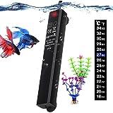 Betta Fish Tank Heater, 25W Mini Aquarium Heaters with 2 Artificial Plants 1 Stick-on Thermometer Strip Energy-efficient…