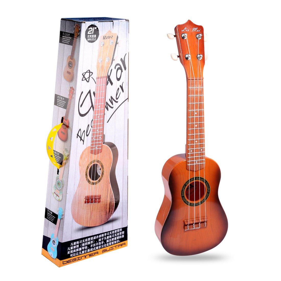 Gitarre Kinder, Foxom 21 Musikinstrument Ukulele Gitarre mit Plektrum für Kinder Pädagogisches Spielzeug Geschenk, Geeignet für Kinder ab 3 Jahre (Typ-1)