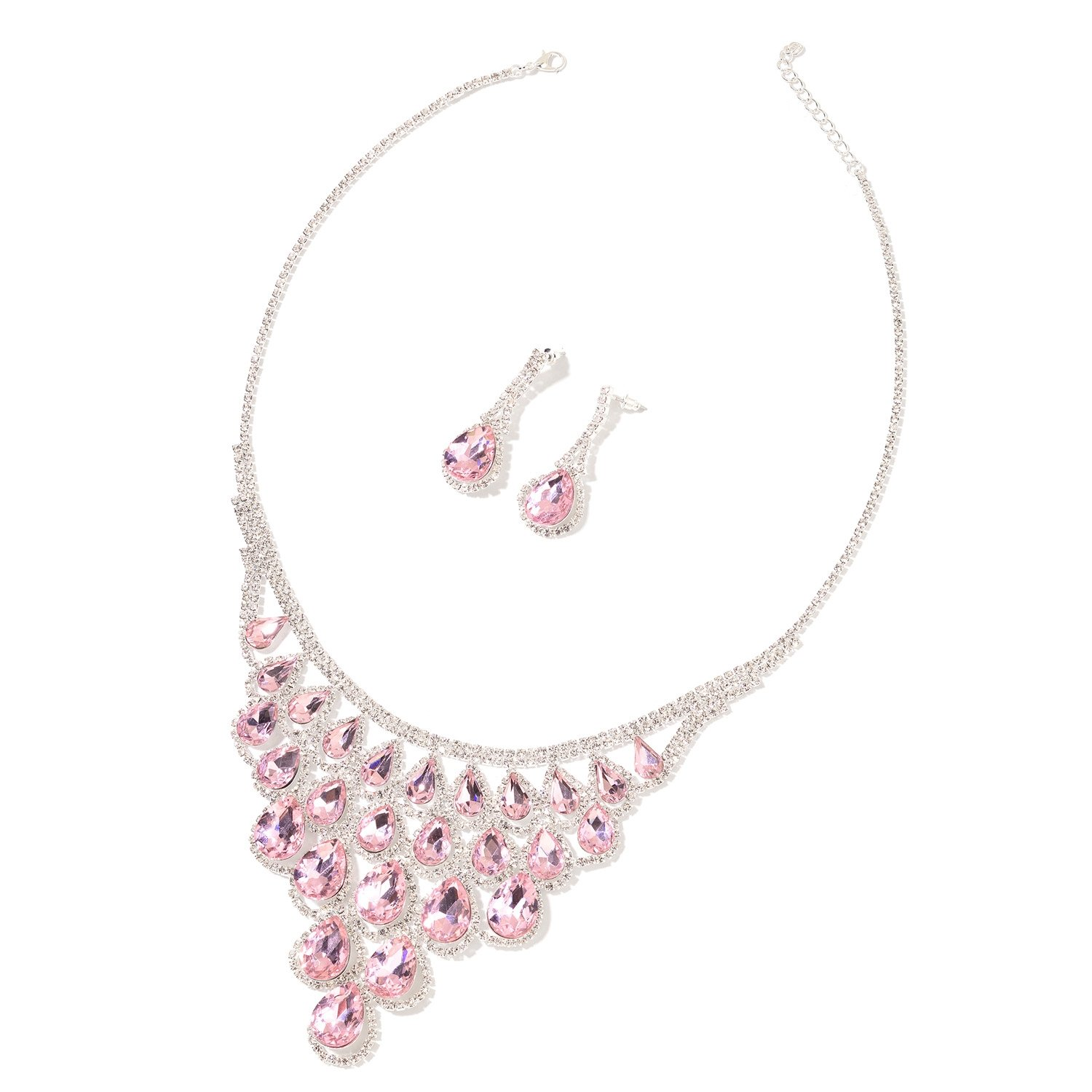 Pink Glass, White Crystal Silvertone Drop Earrings and Bib Necklace Jewelry Set for Women 18-20''