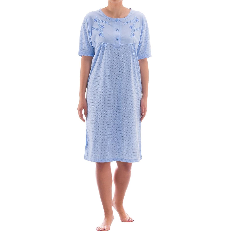 1d63dce0706e9c Zeitlos Nachthemd Kurzarm Punkte Design Knöpfe Stickerei Sleepshirt  Schlafshirt Nachtkleid Nachtwäsche Sommer Kurz: Amazon.de: Bekleidung