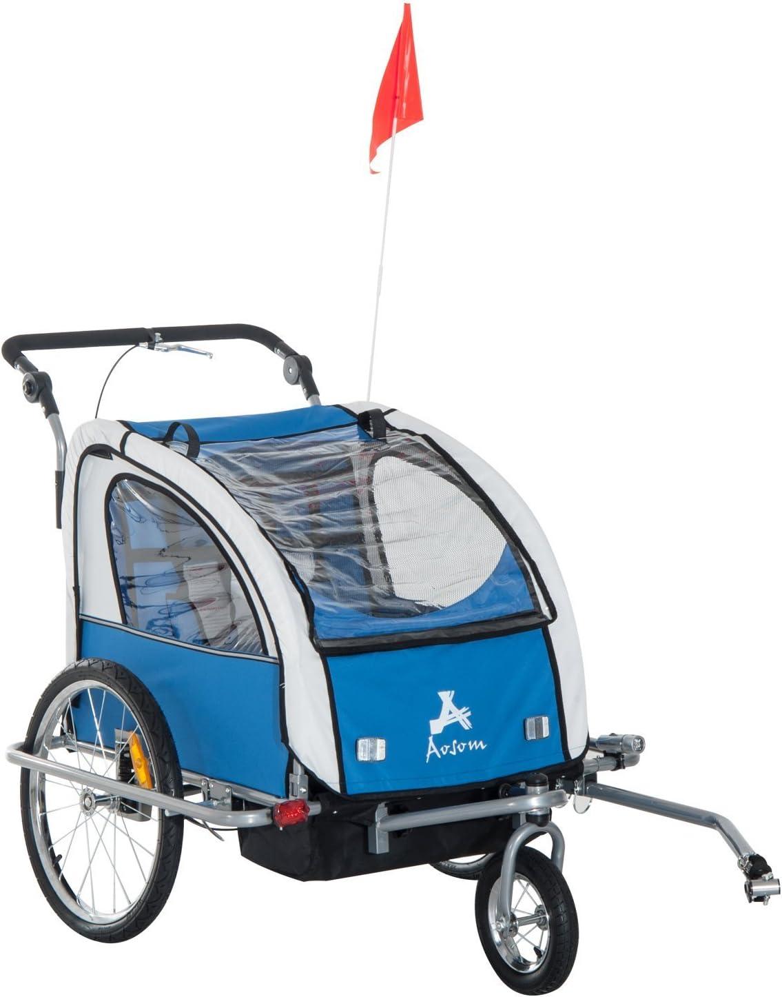 HOMCOM Remolque Infantil para Bicicleta 2 PLAZAS Rueda Giratoria 360° y Amortiguadores CON BARRA INCLUIDA Kit de Footing COLOR Azul