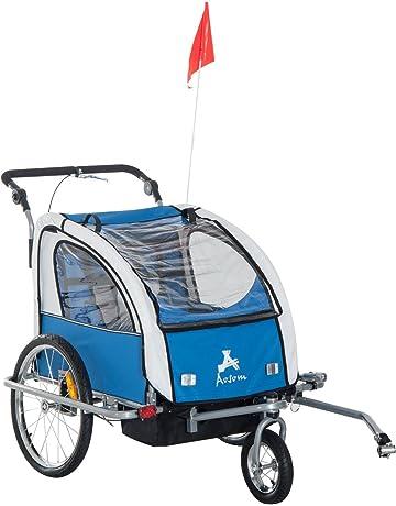 HOMCOM Remolque Infantil para Bicicleta 2 PLAZAS Rueda Giratoria 360° y Amortiguadores con Barra INCLUIDA
