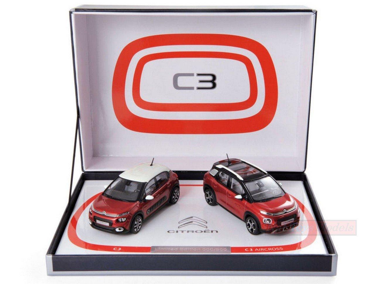 NOREV NV155329 COFFRET Citroen C3  C3 AIRCROSS 2017 Limited (2 Cars) 1:43 Model