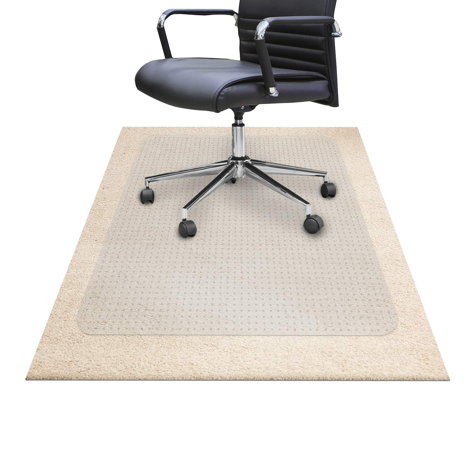 "Chair Mats for Carpeted Floors – Shatter-Proof Carpet Protector for Desk Chair | Eco-Friendly Low/Medium Pile Office Chair Mat for Carpet | Clear- 48"" x 60"" by OfficeMarshal (Image #6)"
