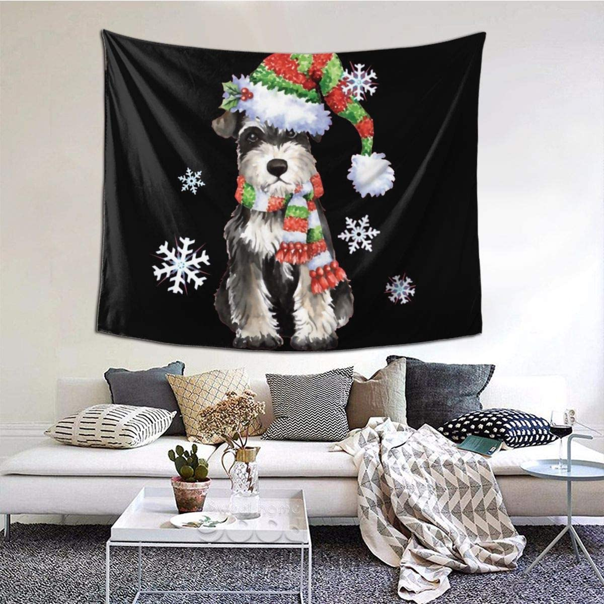 Hangyin Happy Howlidays Miniature Schnauzer Wall Tapestry with Art Chakra Home Decorations for Bedroom Dorm Decor in 60x50 Inches