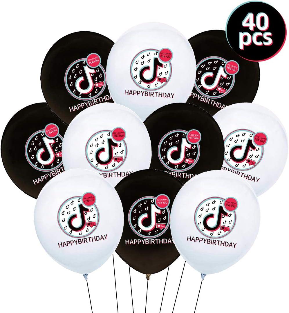 40PCS Tik Tok Party Decorations Tik Tok Party Supplies for Music Happy Birthday Decorations for Gilrs Boys all Fans of Tik Tok Tik Tok Latex Balloons