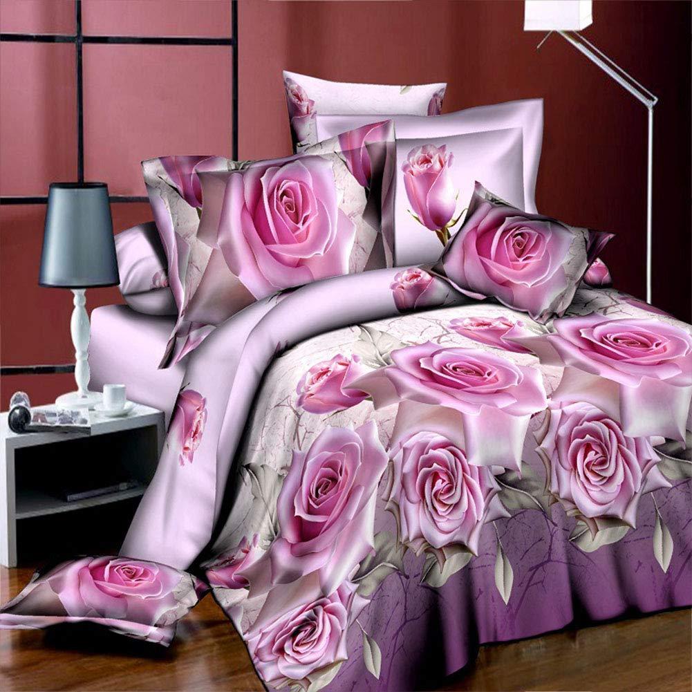 Copripiumini 2x2,3m Lenzuola 2,3x2,3m 2 Federe 48x78cm Zantec Set Biancheria 4pz//Set Lenzuola matrimoniali Completo Stampa Rosa Blu 3D