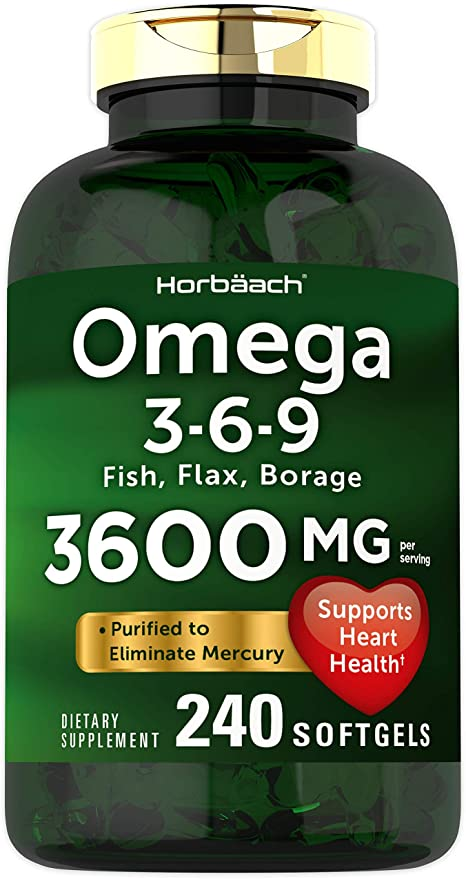 Amazon Com Triple Omega 3 6 9 3600 Mg 240 Softgels From Fish Flaxseed Borage Oils Non Gmo Gluten Free By