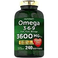 Triple Omega 3-6-9 3600 mg 240 Softgels | from Fish, Flaxseed, Borage Oils | Non-GMO...