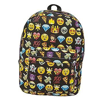 Wintefei - Mochila escolar con estampado de emoticonos para viajes, camping, escuela, color