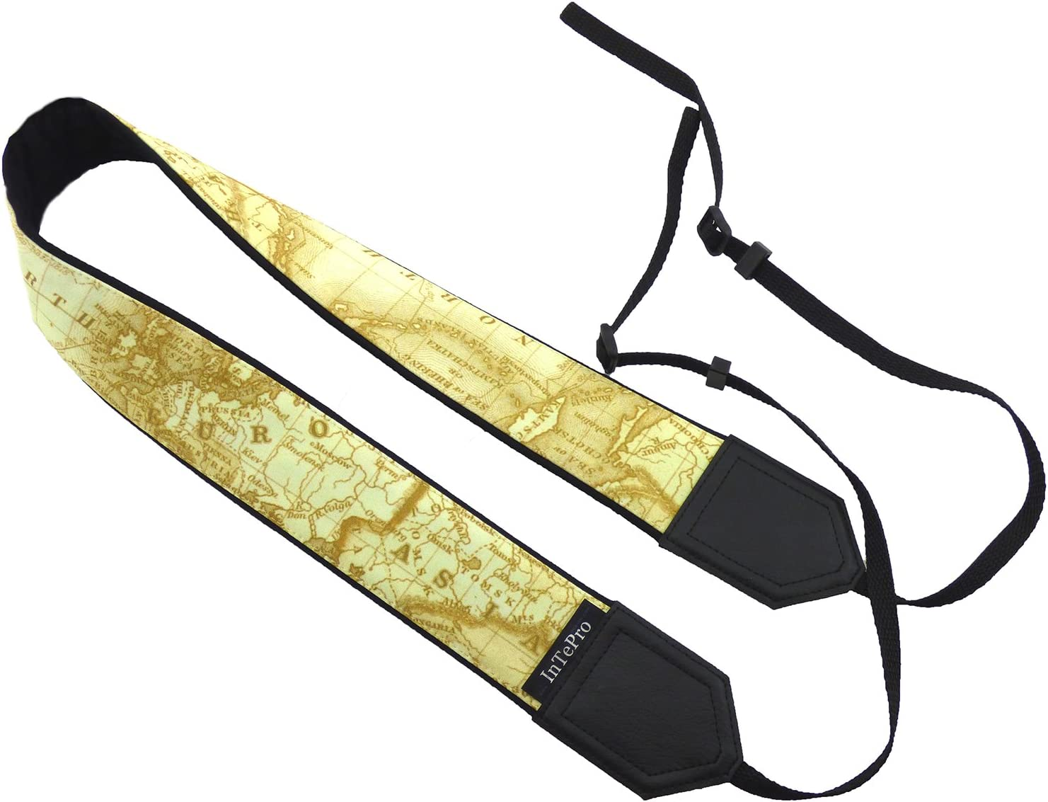 Yellow map Camera Strap Asia World map Camera Strap Code 00341 Europe Soft and Padded Durable North America