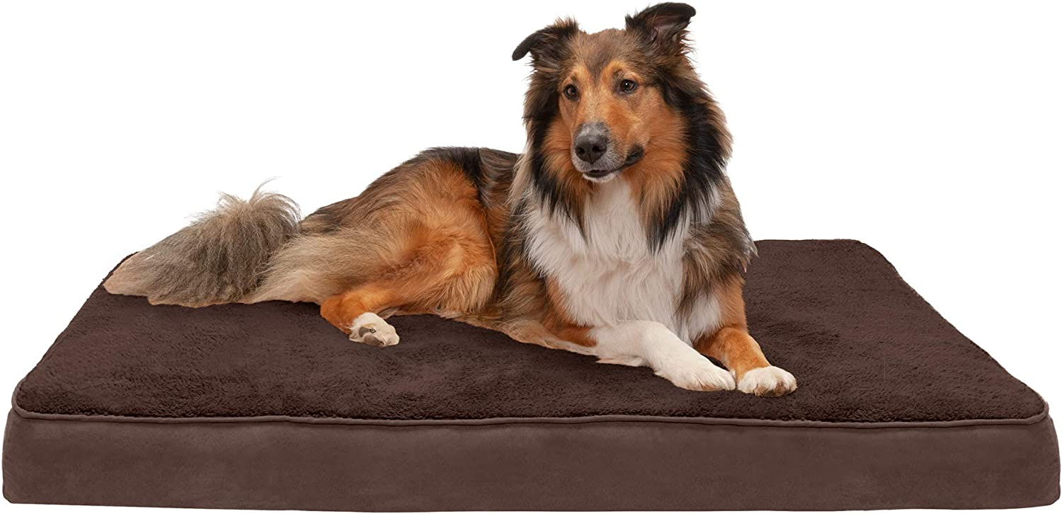 Furhaven - Traditional Orthopedic Rectangular Mattress Dog Bed - Available in Multiple Colors & Styles