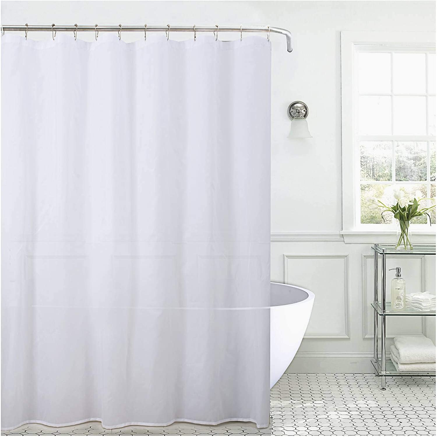 Jarl home Shower Curtain Liner - Waterproof White Shower Curtains for Bathroom - Nylon Fabric - 72×72 (White 2 pcs, 72×72)