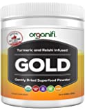 Organic Superfood Powder- Organifi Gold Super Food Supplement - 30 Day Supply - Experience Deeper Sleep- Boosts Immune System and Cognitive Function - Turmeric and Reishi Infused - Golden Milk- Detox