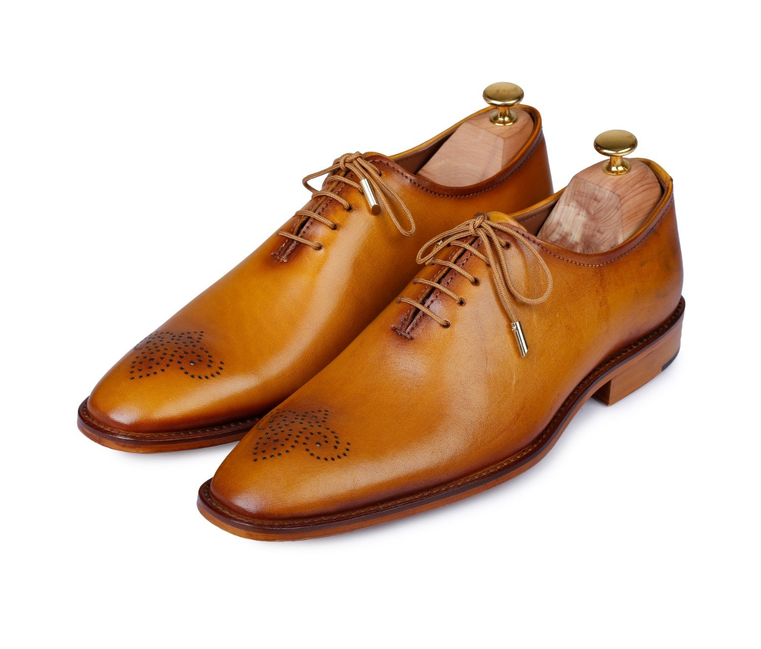 Lethato Handcrafted Wholecut Oxford Men's Genuine Leather Lace Up Dress Shoes- Golden