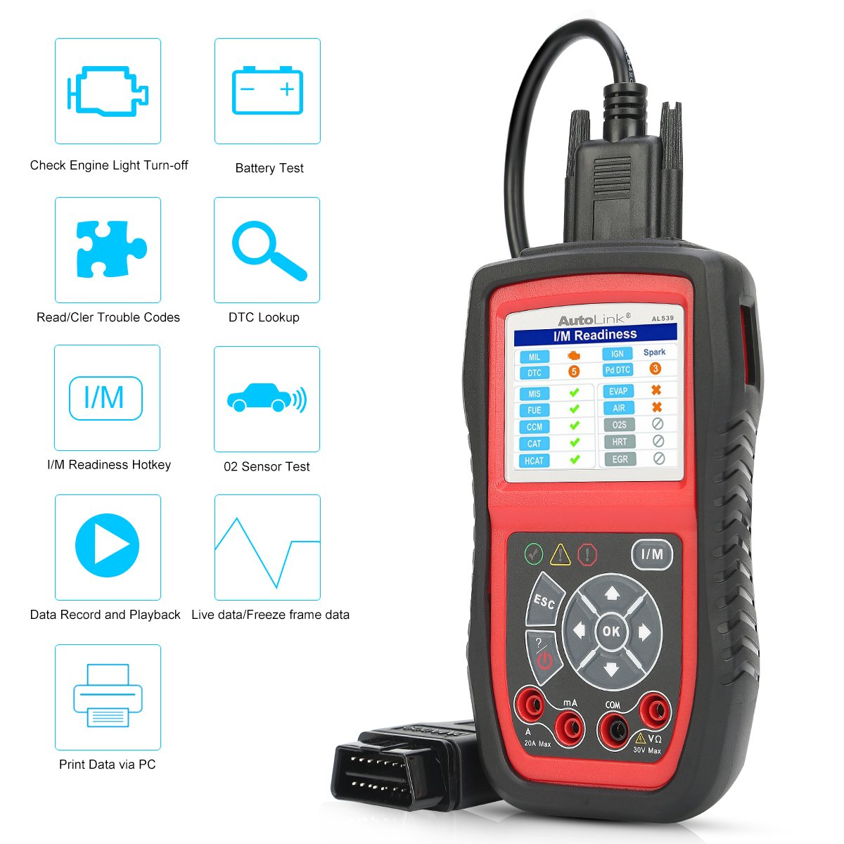 Autel AL539 Code Reader Scanner Scan Tool Car Electrical Tester with Full OBD2 Diagnoses and Avometer Function(Upgraded Version of AL519) by Autel (Image #2)