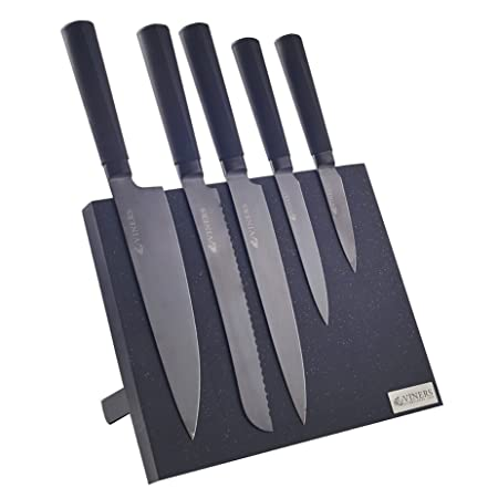Viners Titan Kitchen Knife Block Set, Stainless Steel, Black, 13 X 36 X