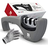 Kitchen Knife Sharpener - 3 Stage Knife Sharpening Tool Sharpens Chef's Knives - Kitchen Accessories Help Repair, Restore and Polish Blades Quickly, Food Safety Cut Resistant Glove Included, Gray