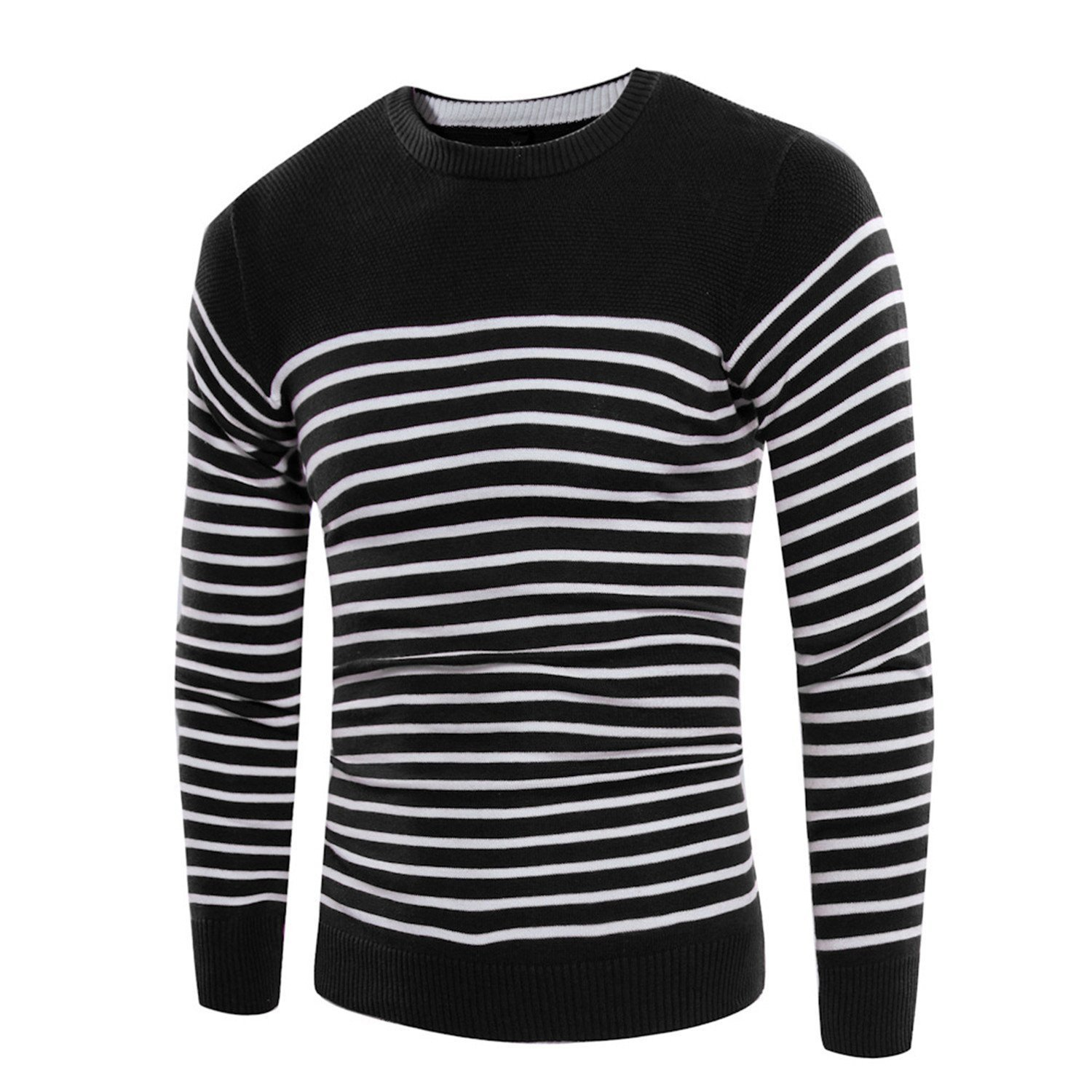 Cheryl Bull Trendy Knitted Sweaters O-Neck Jumper Men's Cotton Pullover Knitting White Black Navy Grey Striped Sweater Wine RedX-Large by Cheryl Bull Business-suit-vests (Image #3)