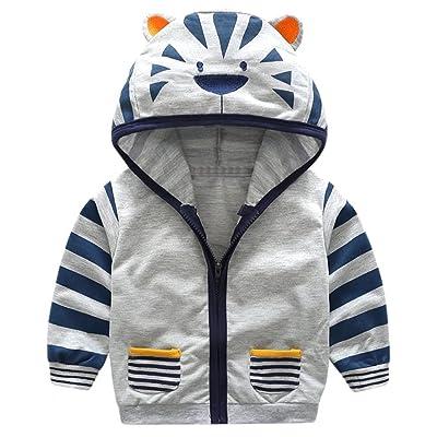 DAIMIDY Boy's Full Zip Tiger Hoodie Sweatshirt, 1 Years - 6 Years