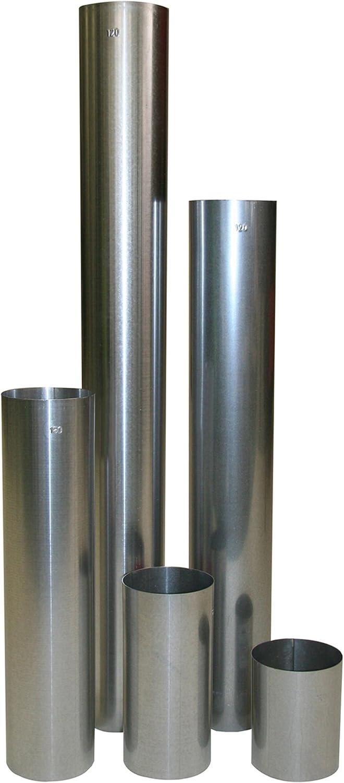 Kamino - Flam – Tubo para chimenea (Ø 120 mm/longitud 150 mm), Tubo para estufa de leña, Conducto de humos – resistente a altas temperaturas – durable, estable – plata