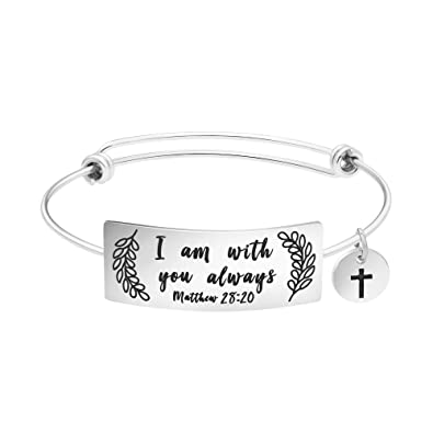Amazon Religious Bangle Bracelet For Women Inspirational Birthday Gifts Her Stainless Steel Jewelry Mantra I Am With You Always