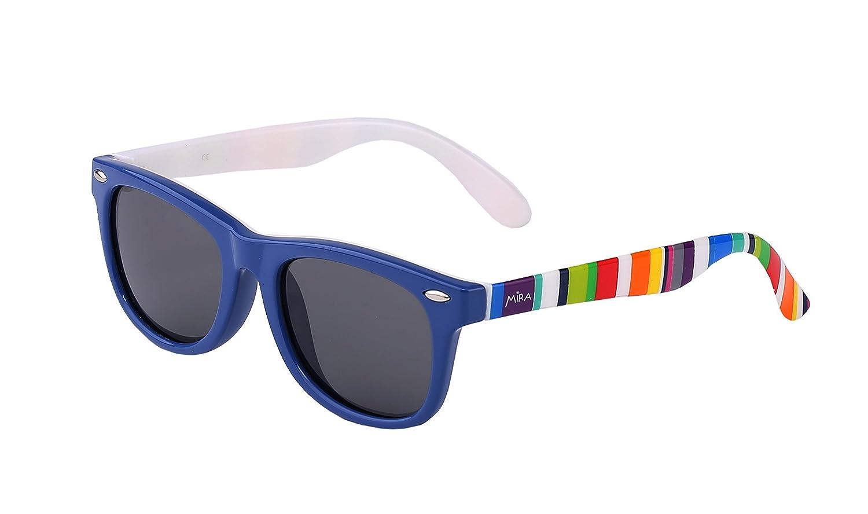 8d25dcc994d Amazon.com  MIRA MR-300 Kids Wayfarer Sunglasses - Polarized Lenses with  100% UVA and UVB Protection - Comfortable Unisex Retro Design - Includes ...
