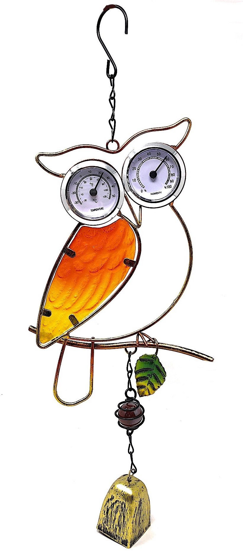 Country Living Temperature Thermometer Humidity Monitor Nature Inspired Wind Chime Indoor Outdoor (Owl)