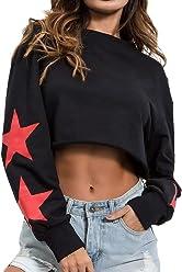 331156fd06 SheIn Women's Round Neck Sweatshirt Star Print Long Sleeve Pullover Crop Top