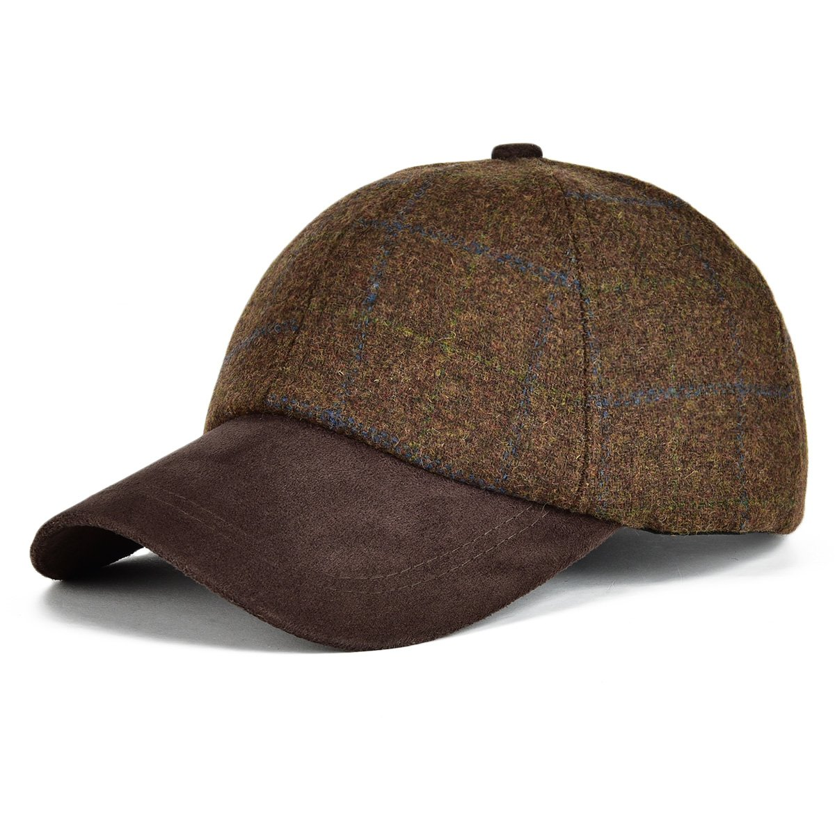 VOBOOM Men's Wool Herringbone Baseball Cap Check Woolen Adjustable Suede Peak BDMZ170-Bron