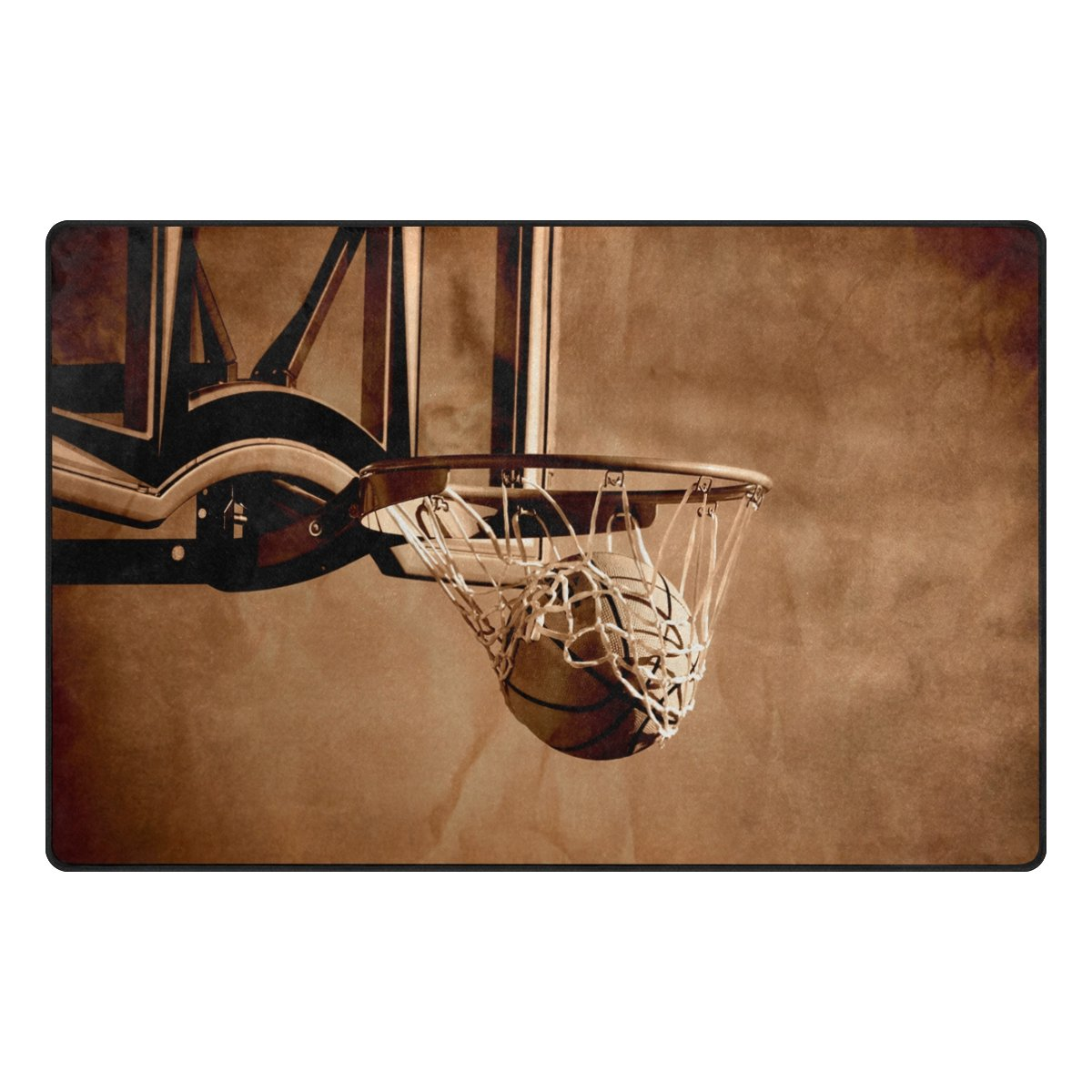 Benni giry Rango de baloncesto Alfombra antideslizante Diario de DF920felpudos para salón dormitorio 78,7x 50,8cm, poliéster, multicolor, 31 x 20 inch