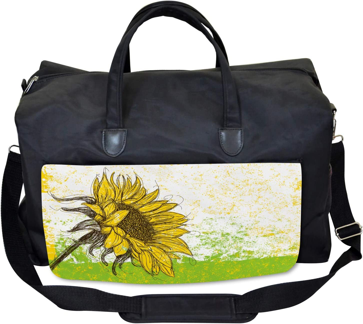 Floral with Sunflowers Ambesonne Nature Gym Bag Large Weekender Carry-on