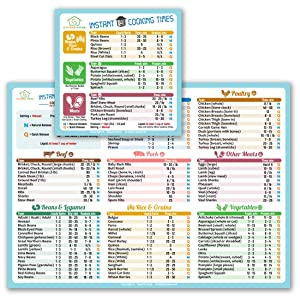 """Best Improved Version Instant Cooking Times Cheat Sheet Larger Magnet 11""""x8"""" (Blue) More Food (100+) Bigger Text To Read for Instant Pot Pressure Cooker Accessories Magnetic Cook Time Chart Guide Gift"""