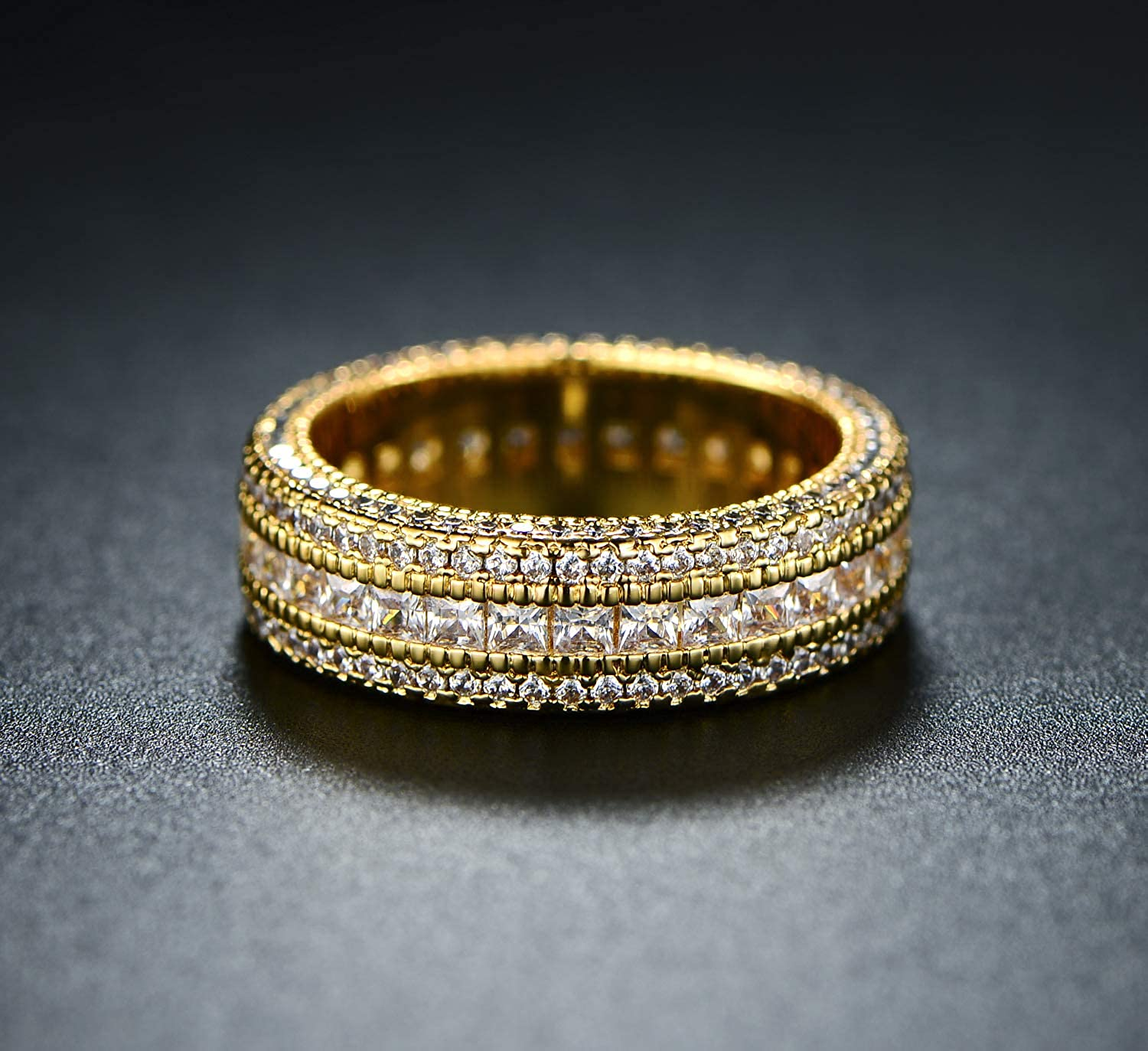 Rose Gold or White Gold Plated 5 Rows Cubic Zirconia Wide Band Statement Cocktail Eternity Band Ring Jewelry SGS INTERNATIONAL Barzel 18k Gold