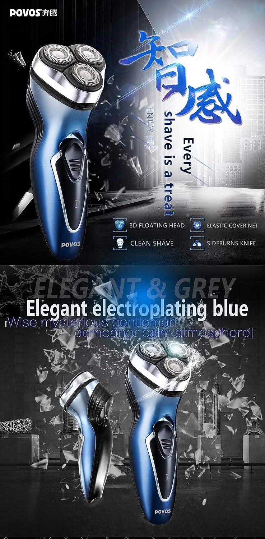 POVOS PQ7500 afeitadora eléctrica recargable 3D con tres cuchillas ...