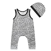 Baby Boy Girls Sleeveless Button Harem Romper Jumpsuit + Hat (100 (18-24M), Grey)